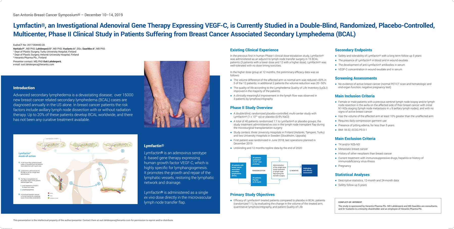 Lymfactin, an investigational adenoviral gene therapy expressing VEGF-C, is currently studied in a double-blind, randomized, placebo-controlled, multicenter, phase 2 clinical study in patients suffering from breast cancer associated secondary lymphedema (BCAL)