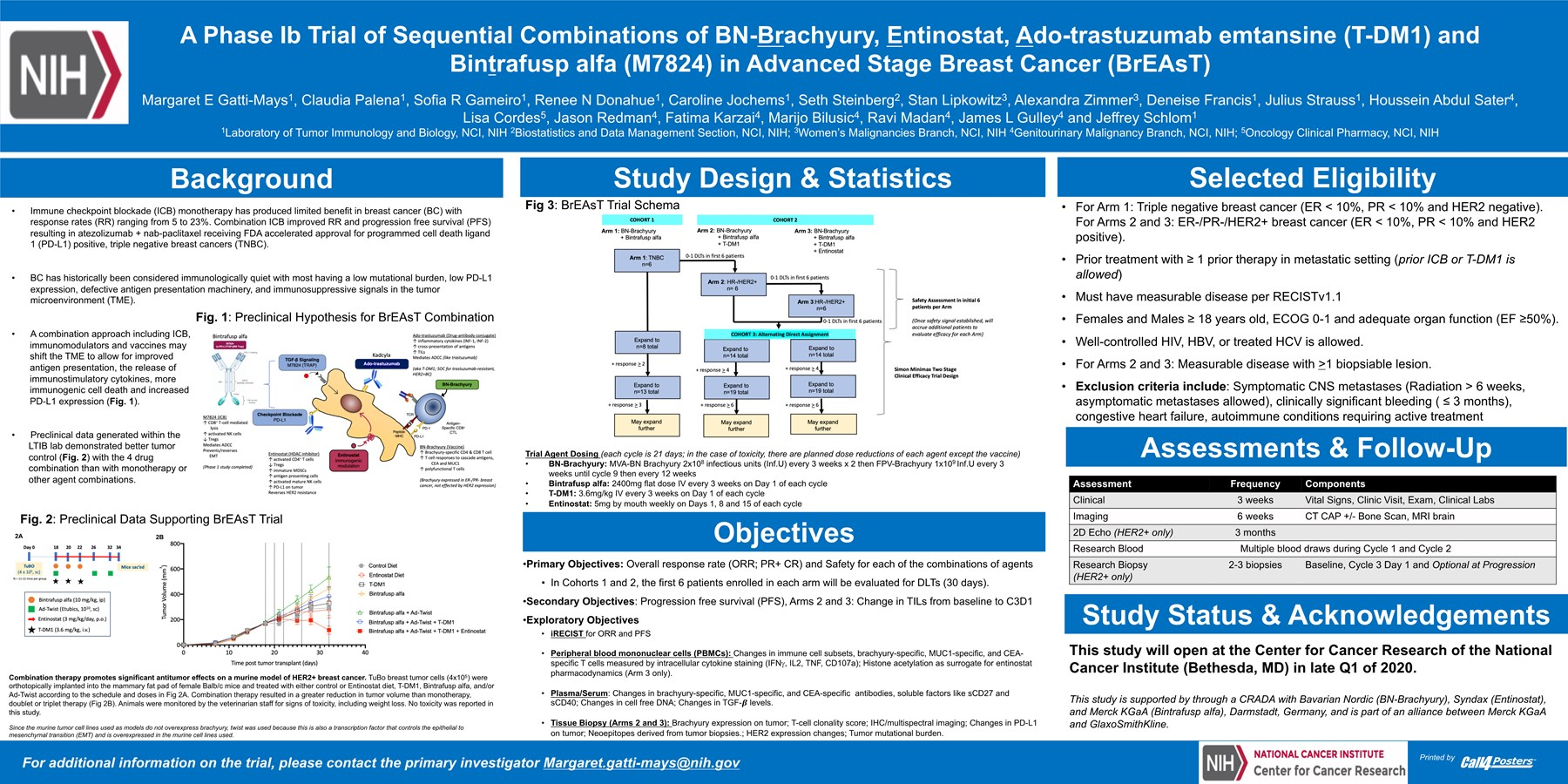 A Phase Ib Trial of Sequential Combinations of BN-Brachyury, Entinostat, Ado-trastuzumab emtansine (T-DM1) and Bintrafusp alfa (M7824) in Advanced Stage Breast Cancer (BrEAsT)