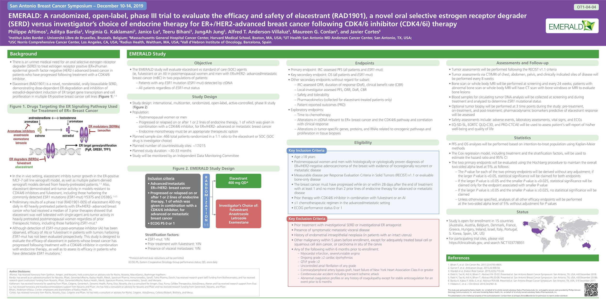 Emerald: A randomized, open-label, phase 3 trial to evaluate the efficacy and safety of elacestrant (RAD1901), a novel oral selective estrogen receptor degrader (SERD), vs investigator's choice of endocrine therapy for ER+/HER2- advanced breast cancer following CDK4/6 inhibitor therapy